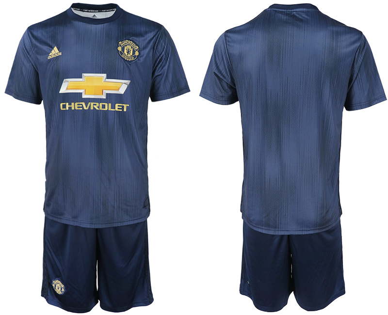 Men 2018-2019 club Manchester united away blank navy blue soccer jersey