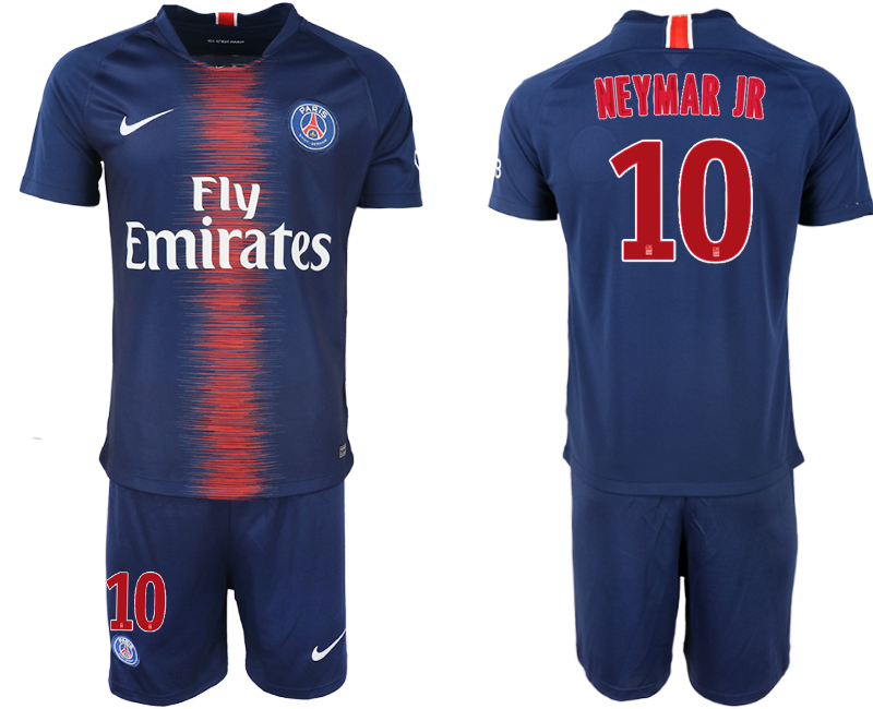 Men 2018-2019 club Paris St Germain home 10 blue soccer jersey