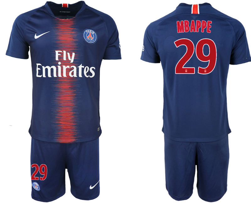 Men 2018-2019 club Paris St Germain home 29 blue soccer jersey