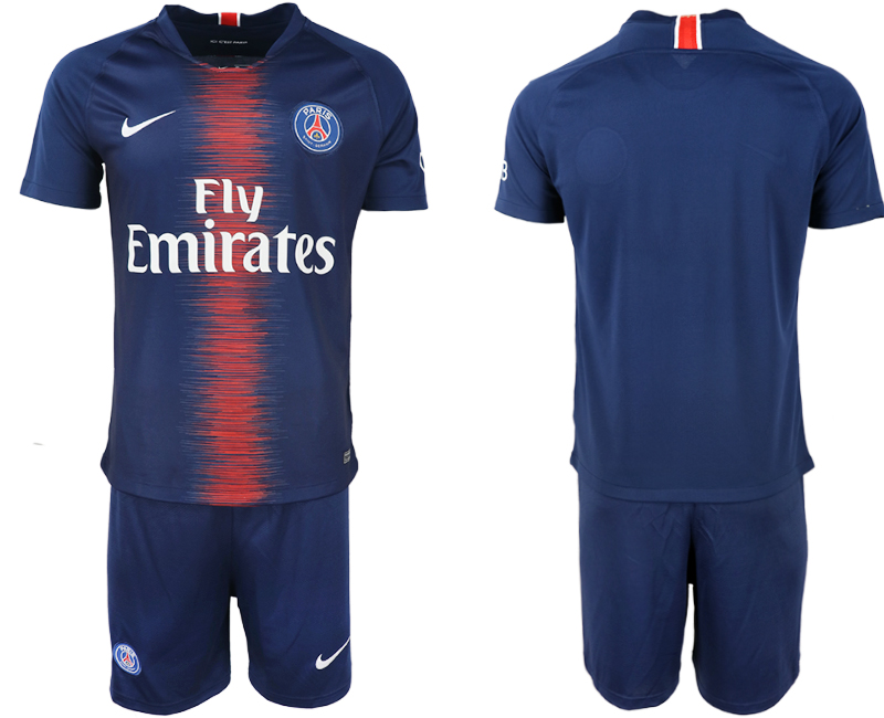 Men 2018-2019 club Paris St Germain home blank blue soccer jersey