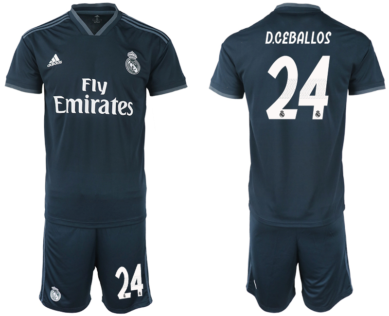 Men 2018-2019 club Real Madrid away 24 blue soccer jerseys