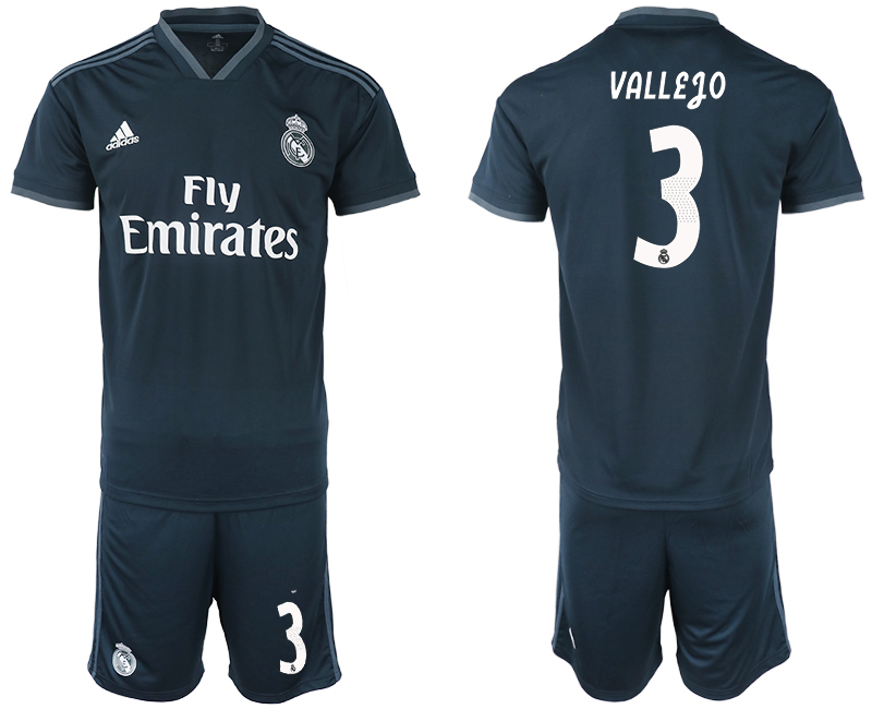 Men 2018-2019 club Real Madrid away 3 blue soccer jerseys