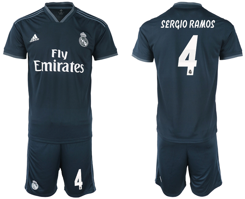Men 2018-2019 club Real Madrid away 4 blue soccer jerseys