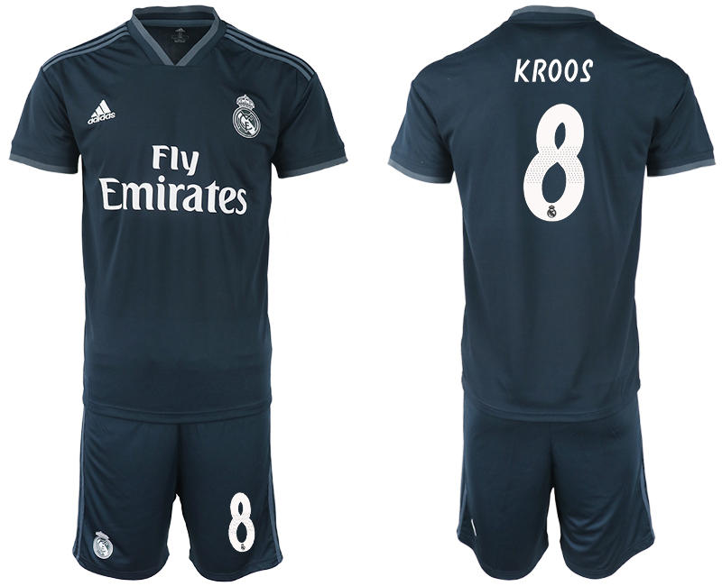 Men 2018-2019 club Real Madrid away 8 blue soccer jerseys