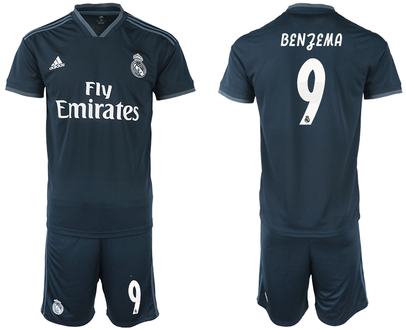 Men 2018-2019 club Real Madrid away 9 blue soccer jerseys