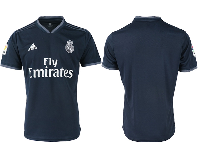 Men 2018-2019 club Real Madrid away aaa version blue soccer jerseys