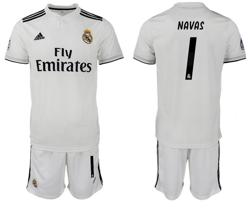 Men 2018-2019 club Real Madrid home 1 white soccer jersey