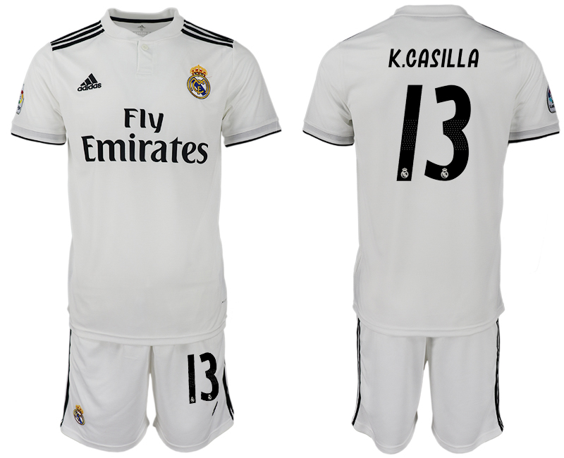 Men 2018-2019 club Real Madrid home 13 white soccer jersey