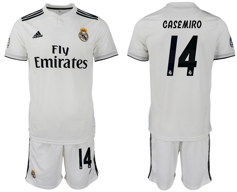 Men 2018-2019 club Real Madrid home 14 white soccer jersey