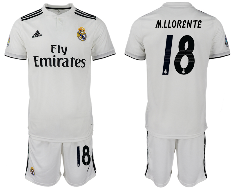 Men 2018-2019 club Real Madrid home 18 white soccer jersey