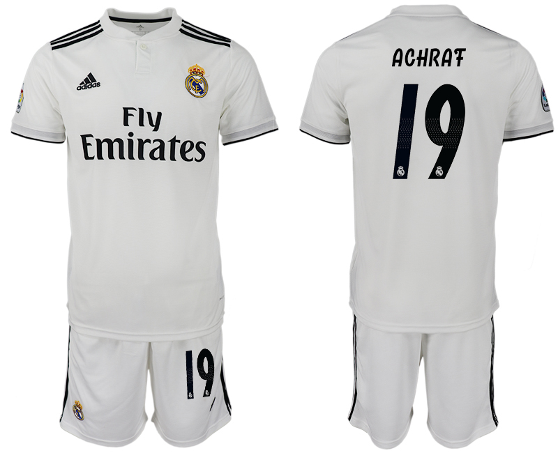 Men 2018-2019 club Real Madrid home 19 white soccer jersey