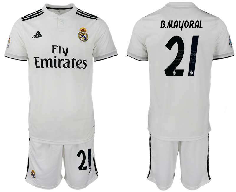 Men 2018-2019 club Real Madrid home 21 white soccer jersey