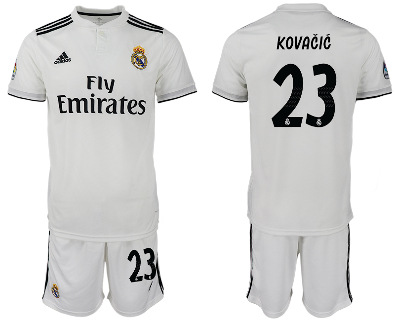 Men 2018-2019 club Real Madrid home 23 white soccer jersey