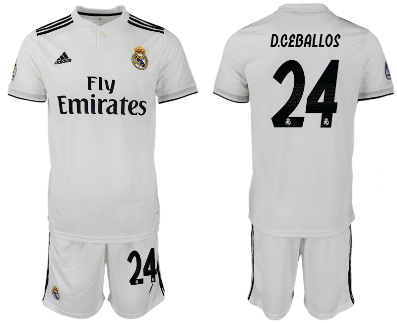 Men 2018-2019 club Real Madrid home 24 white soccer jersey