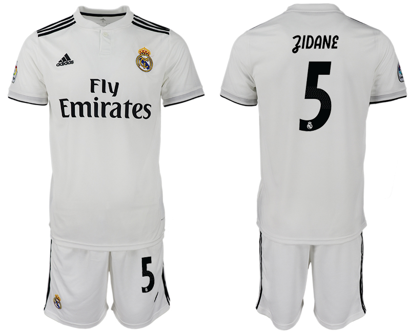 Men 2018-2019 club Real Madrid home 5 white soccer jersey