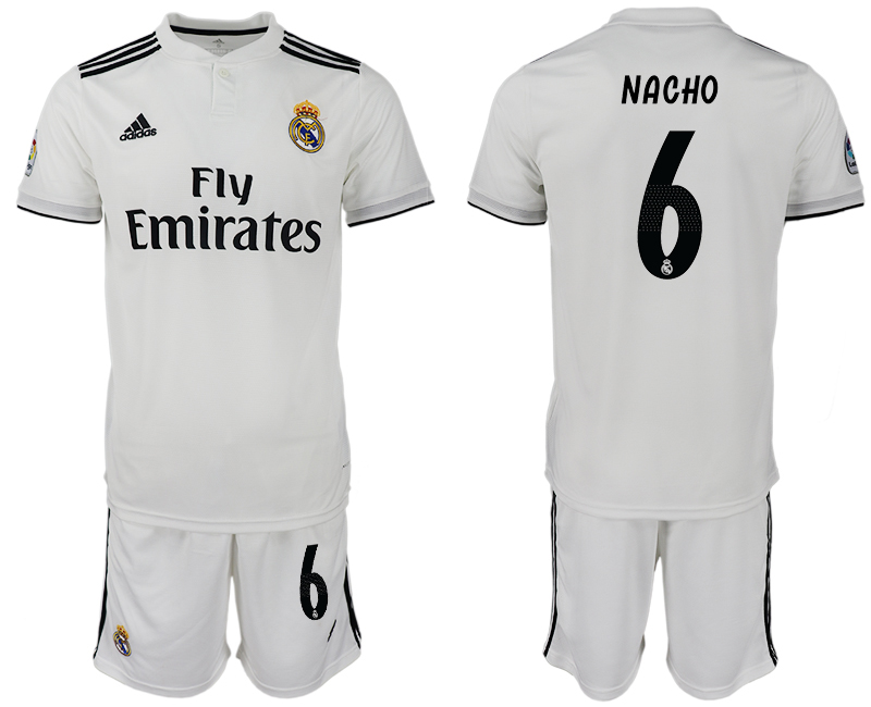 Men 2018-2019 club Real Madrid home 6 white soccer jersey