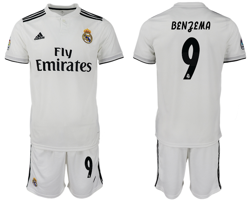 Men 2018-2019 club Real Madrid home 9 white soccer jersey