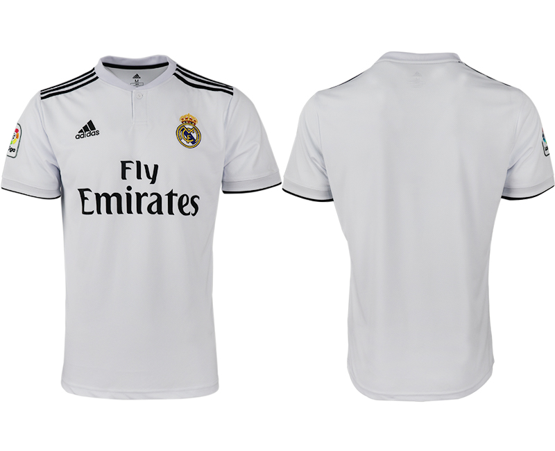 Men 2018-2019 club Real Madrid home aaa version white soccer jerseys