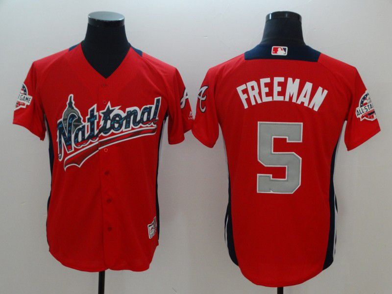 Men Atlanta Braves 5 Freeman Orange All star MLB Jerseys