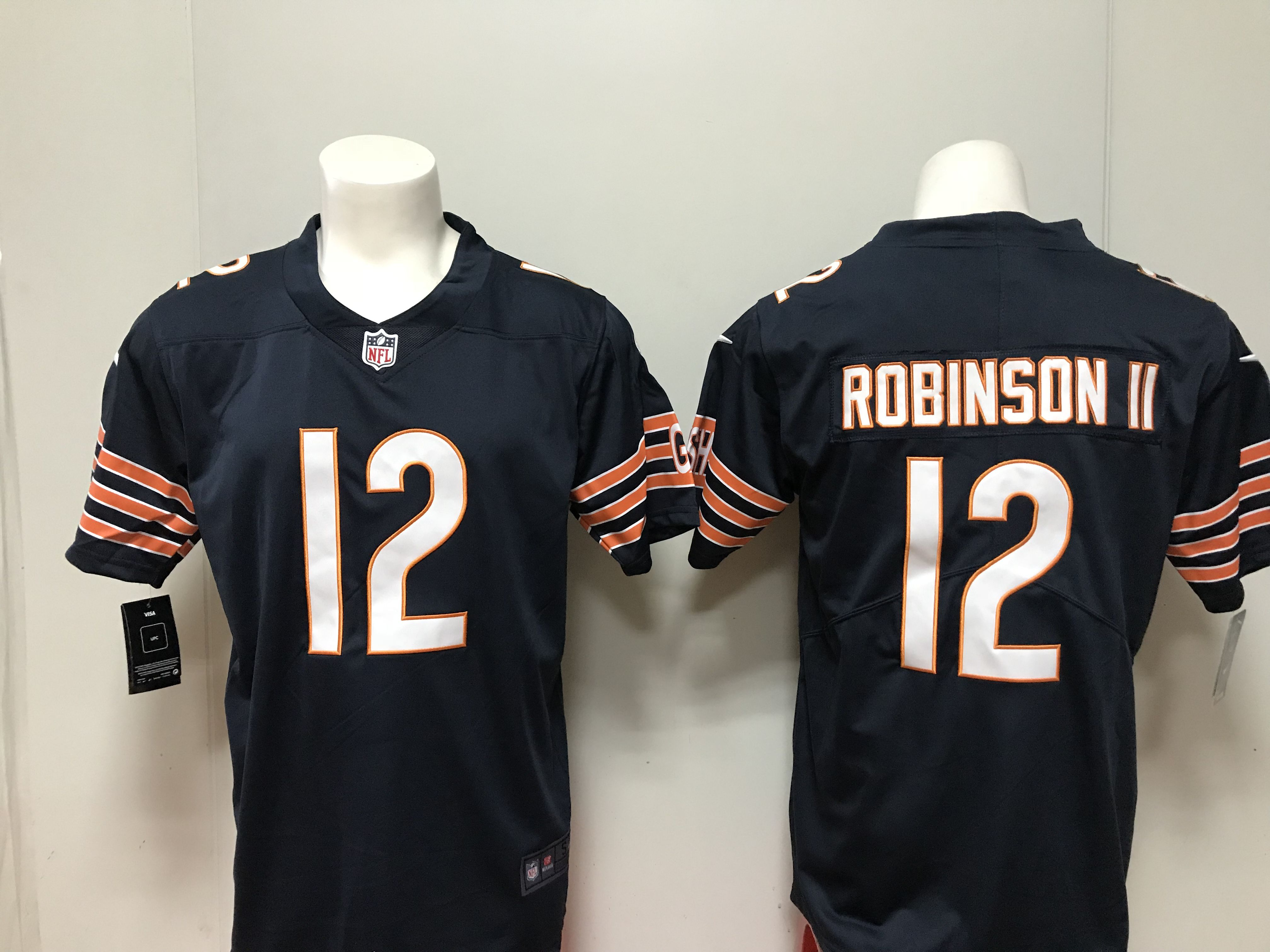 Men Chicago Bears 12 Robinson ii Blue Nike 2018 NFL Draft Pick Game NFL Jersey