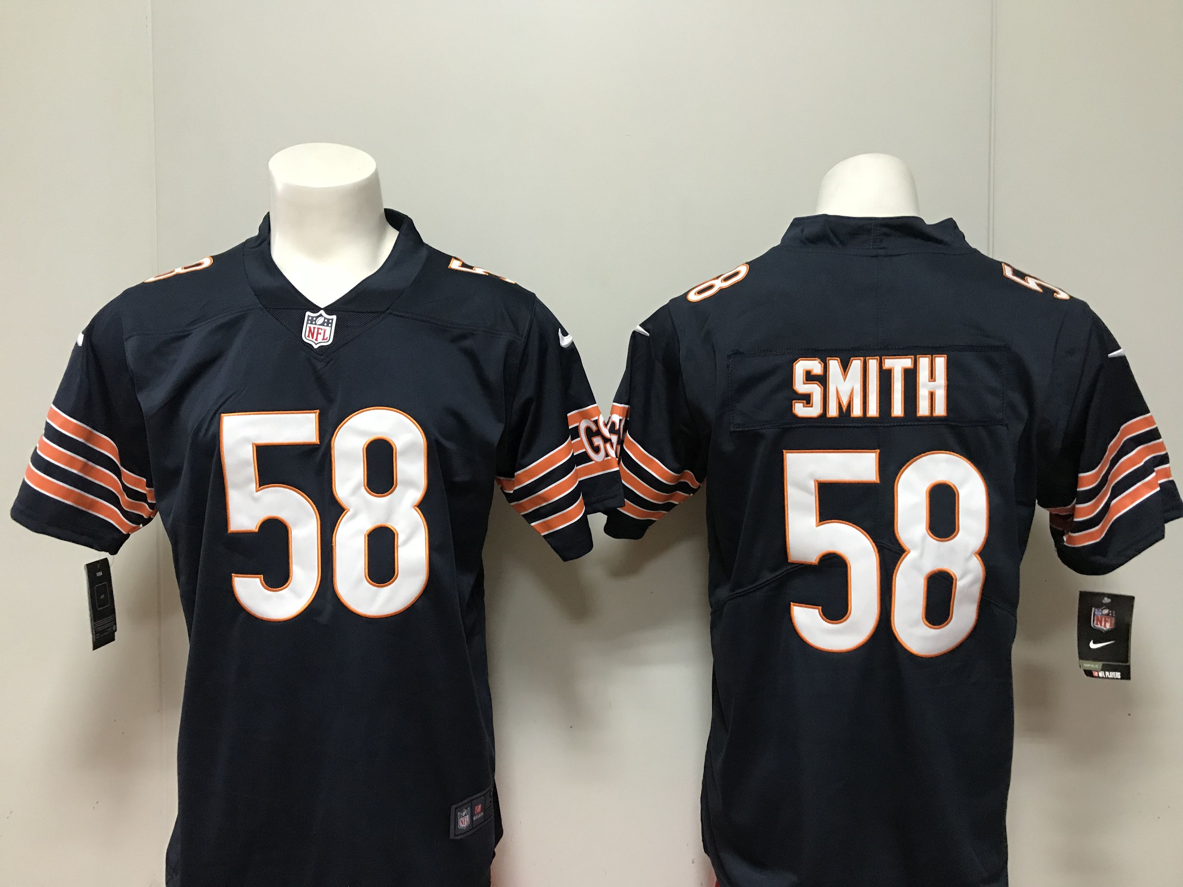 Men Chicago Bears 58 Smith Navy Blue Nike 2018 NFL Draft Pick Game NFL Jersey