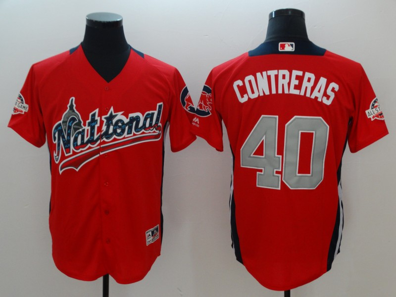 Men Chicago Cubs 40 Contreras red Game 2018 All star MLB Jerseys