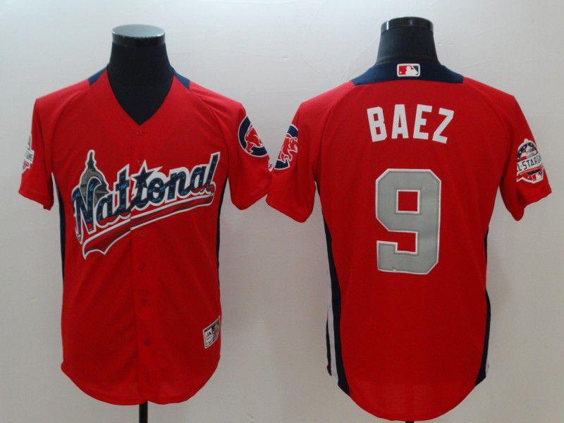 Men Chicago Cubs 9 Baez Orange All star MLB Jerseys