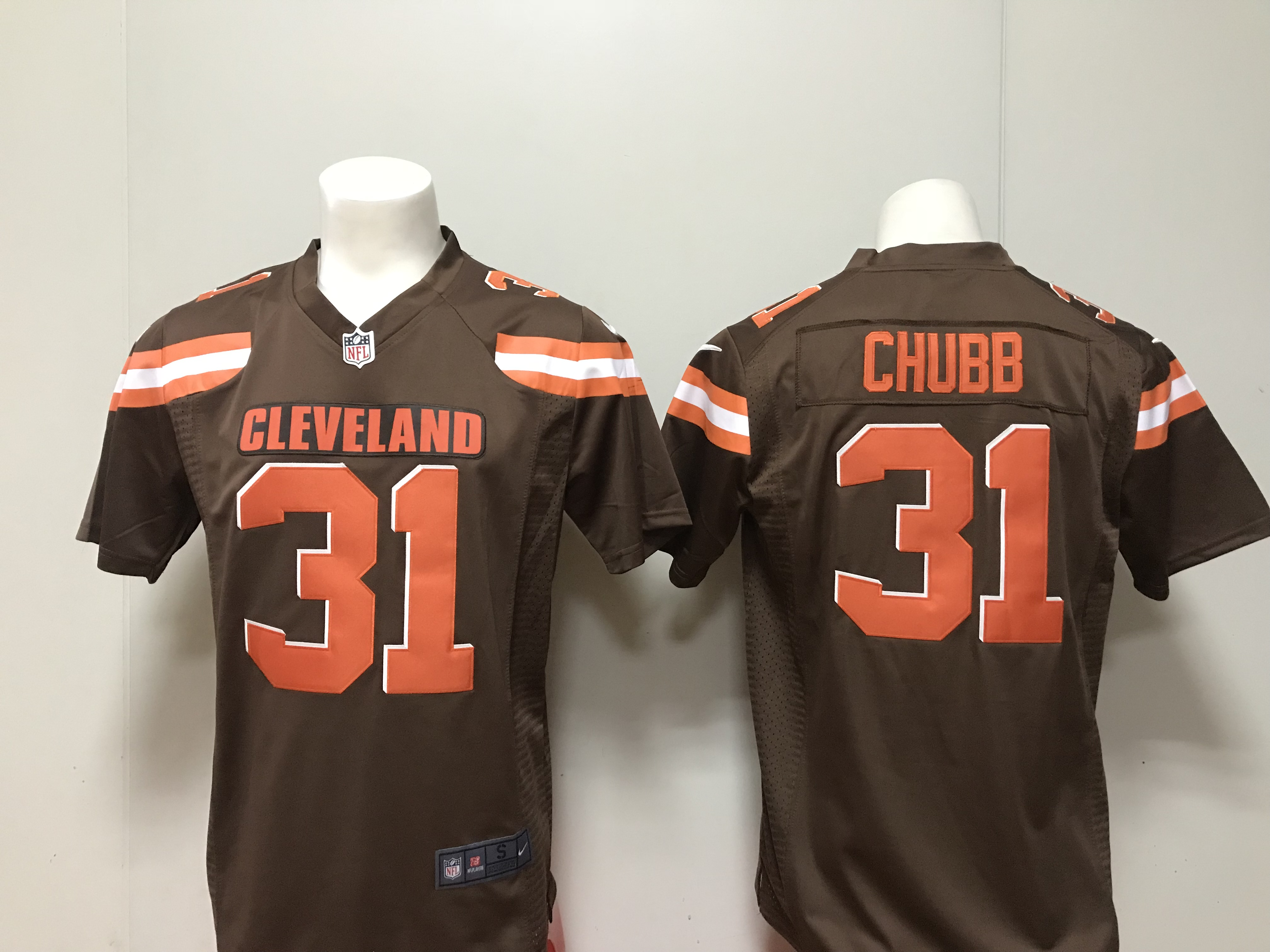 9e8e9f1f3 Men Cleveland Browns 31 Nick Chubb Nike brown 2018 NFL Draft Pick Game  Jersey