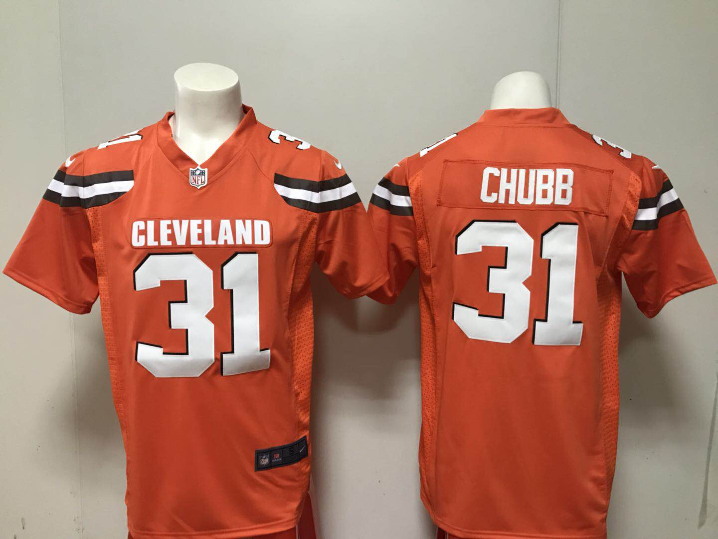 Men Cleveland Browns 31 Nick Chubb Nike orange 2018 NFL Draft Pick Game Jersey