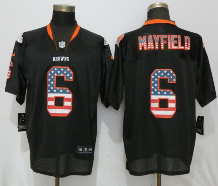 Men Cleveland Browns 6 Mayfield USA Flag Fashion Black Elite Nike NFL Jerseys