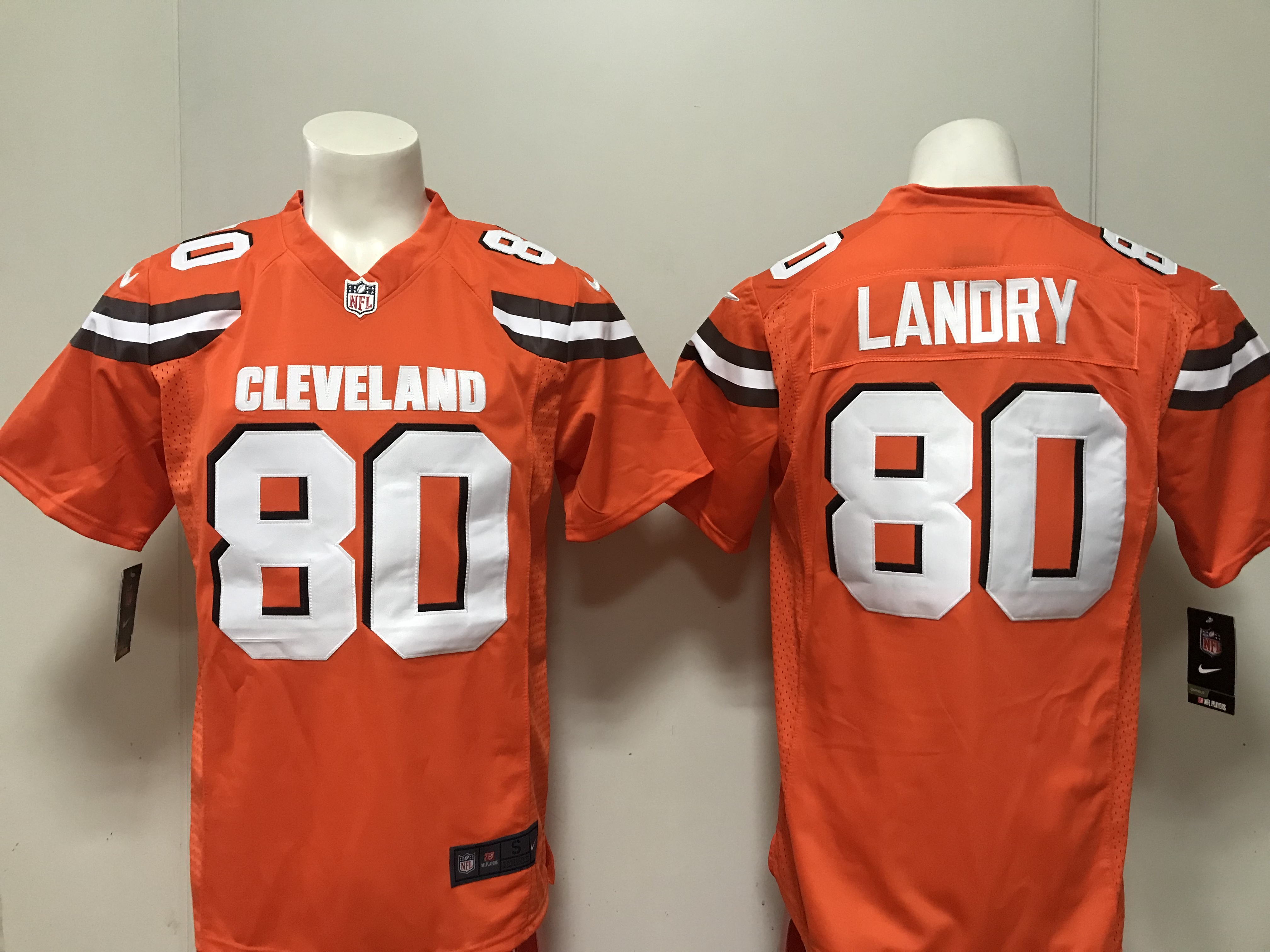 Men Cleveland Browns 80 Landry Nike orange 2018 NFL Draft Pick Game Jersey