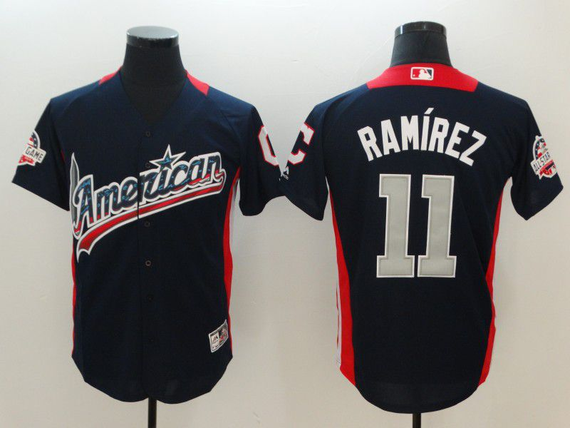 Men Cleveland Indians 11 Ramirez Blue All star MLB Jerseys