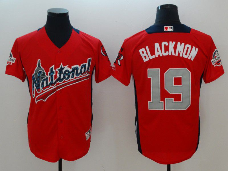 Men Colorado Rockies 19 Blackmon Orange All star MLB Jerseys