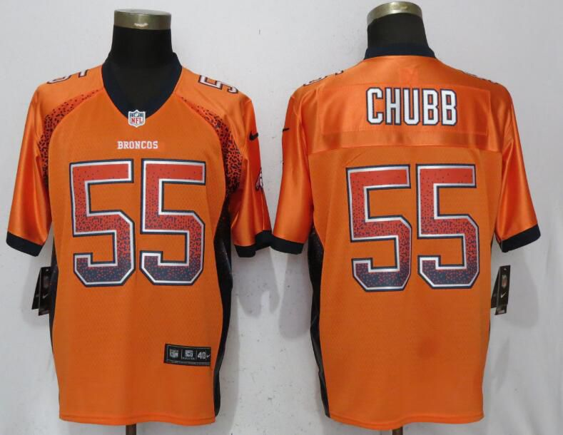 Men Denver Broncos 55 Chubb Drift Fashion Orange Nike Elite NFL Jerseys