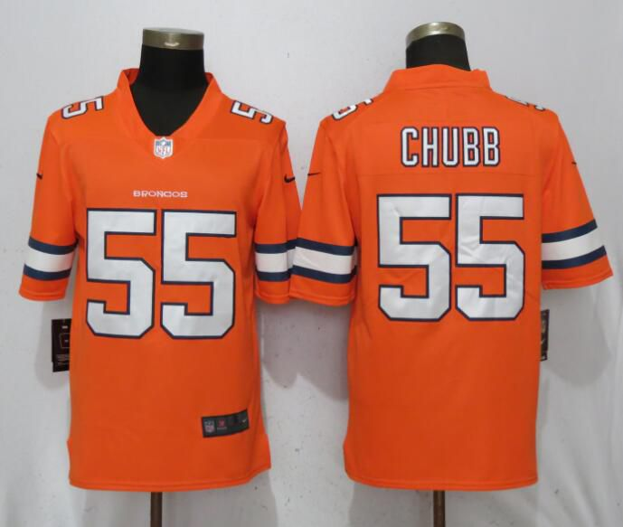 Men Denver Broncos 55 Chubb Navy Orange Color Rush Player Nike Limited NFL Jerseys