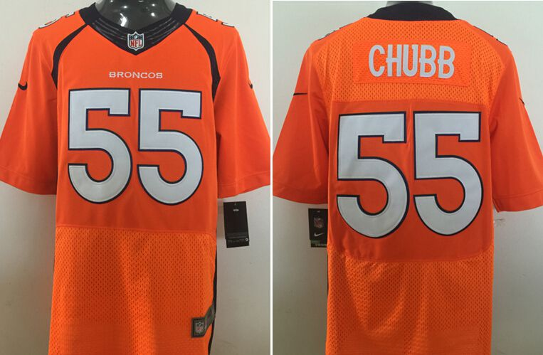 Men Denver Broncos 55 Chubb Orange Nike Elite NFL Jersey