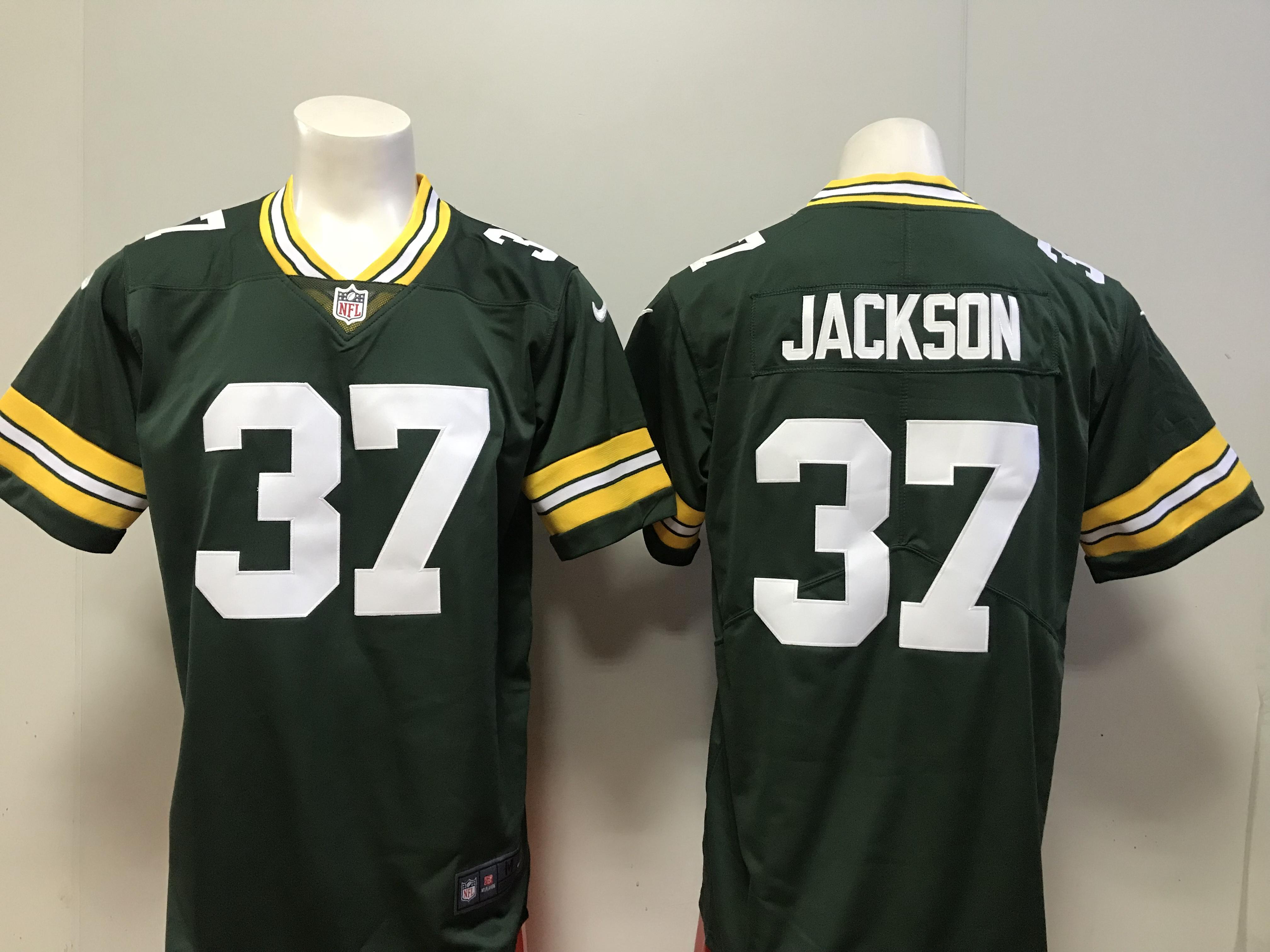 81b3795c Men Green Bay Packers 37 Josh Jackson Nike green 2018 NFL Draft Pick Game  Jersey