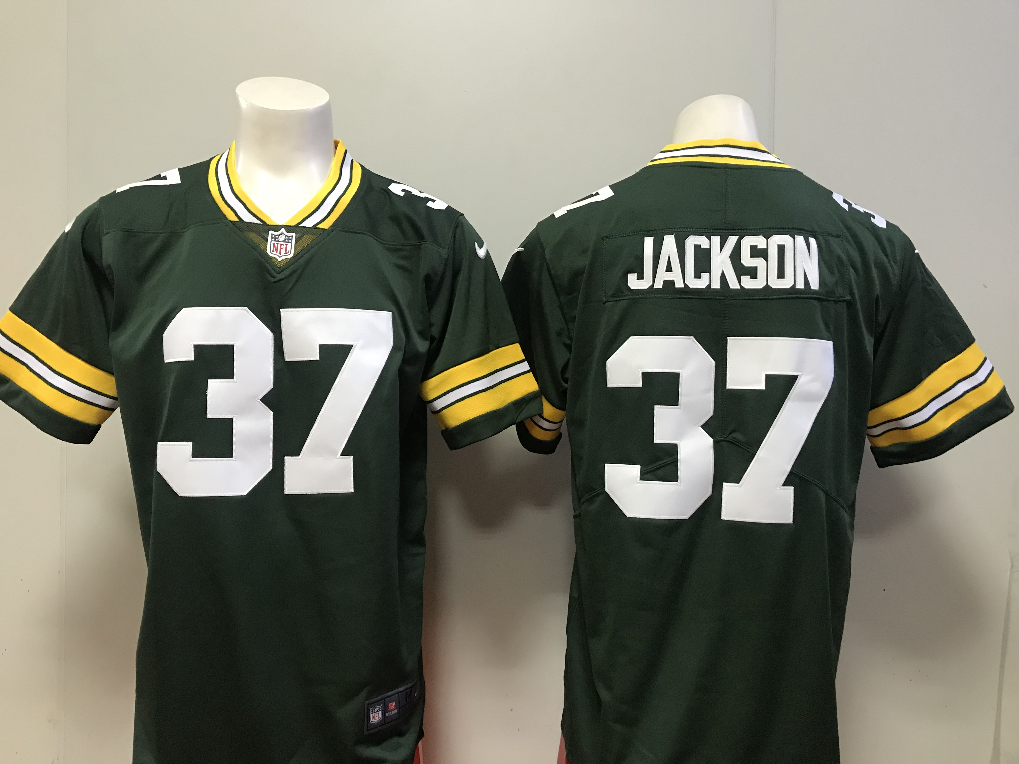 7b124f91f Men Green Bay Packers 37 Josh Jackson Nike green 2018 NFL Draft Pick Game  Jersey