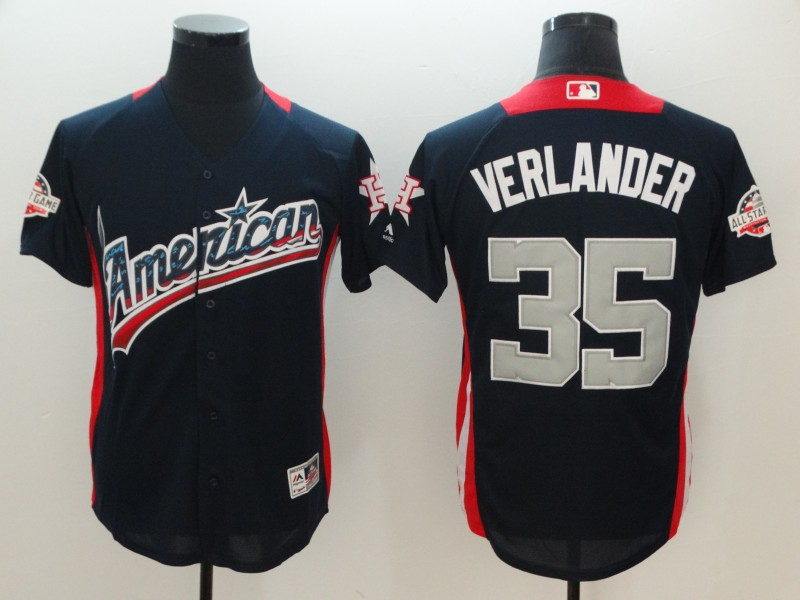 Men Houston Astros 35 Verlander Blue Game All star MLB Jerseys