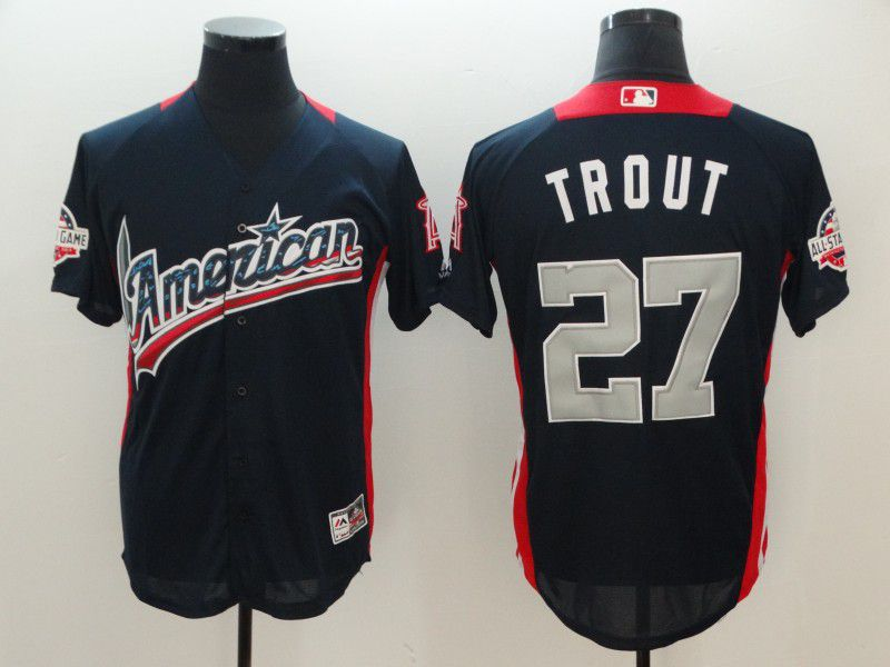 Men Los Angeles Angels 27 Trout Blue All star MLB Jerseys