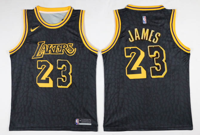 Men Los Angeles Lakers 23 James Black Game Nike NBA Jerseys1