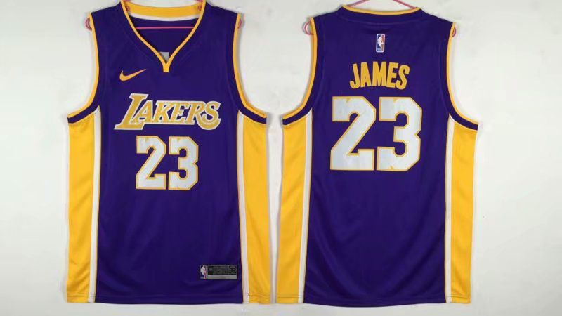 Men Los Angeles Lakers 23 James Purple Nike NBA Jerseys