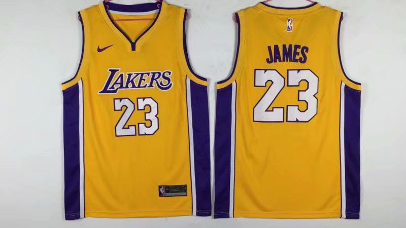 Men Los Angeles Lakers 23 James Yellow Nike NBA Jerseys