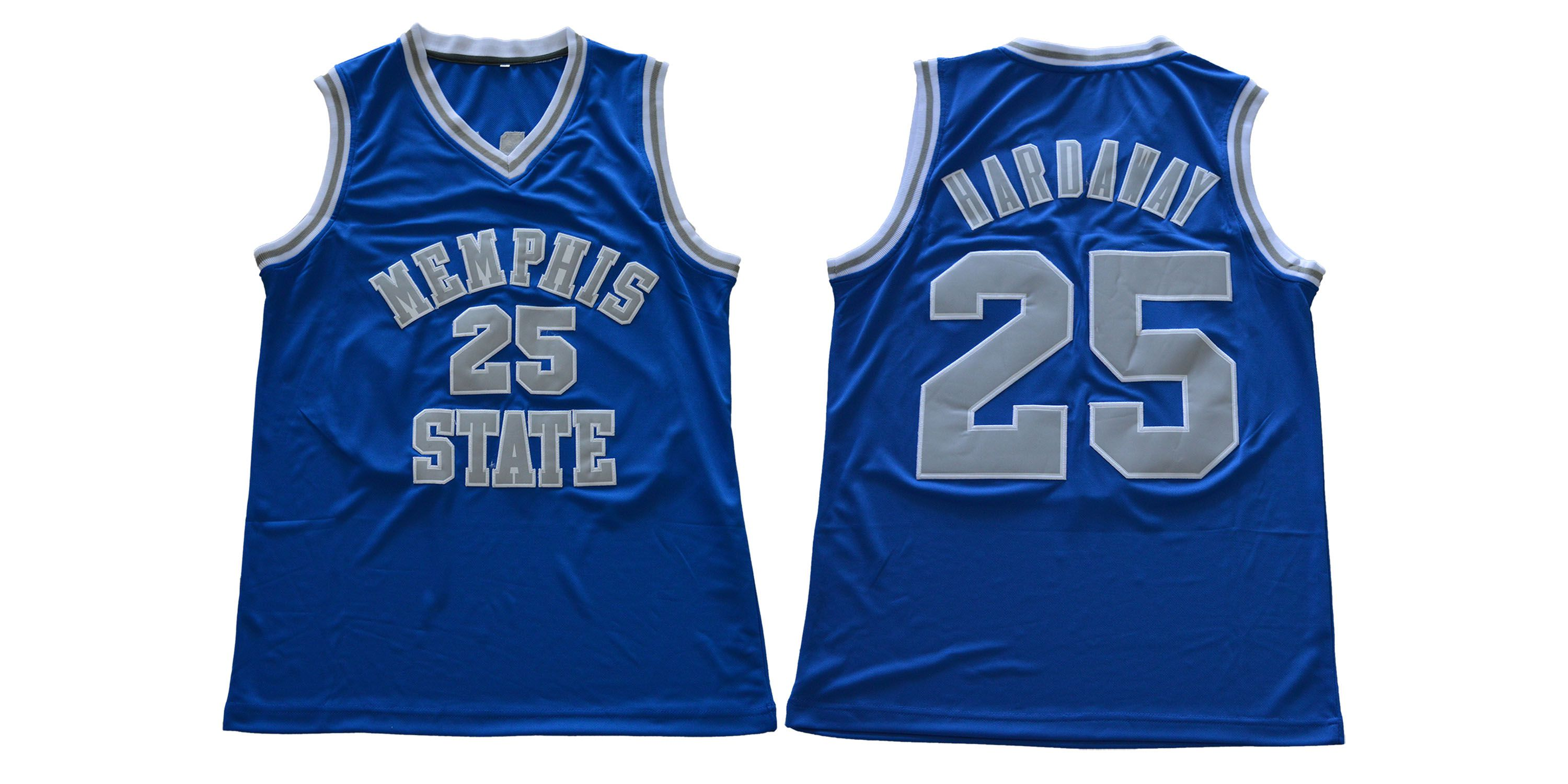 Men Memphis Tigers 25 Hardaway Blue NCAA NBA Jerseys