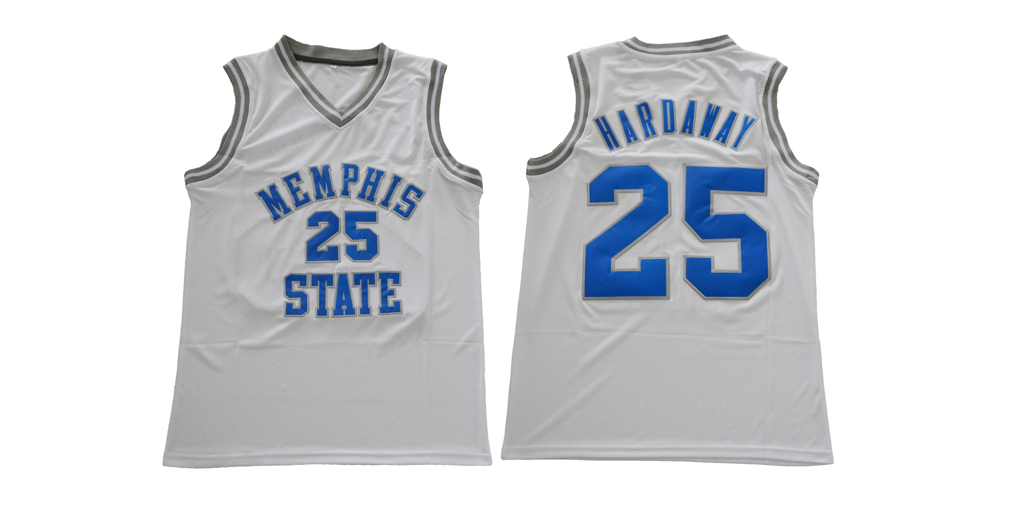 Men Memphis Tigers 25 Hardaway White NCAA NBA Jerseys