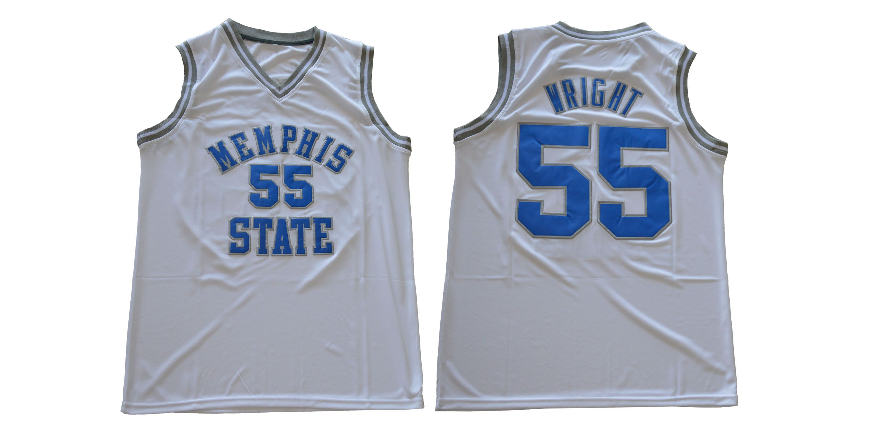 Men Memphis Tigers 55 Wright White NCAA NBA Jerseys