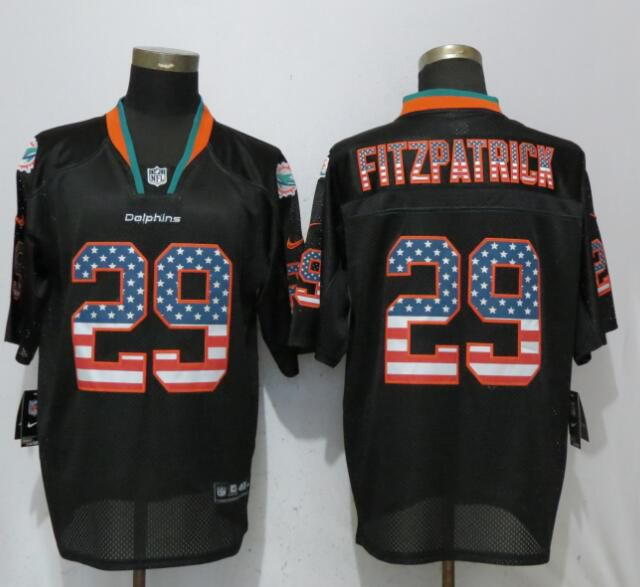 Men Miami Dolphins 29 Fitzpatrick USA Flag Fashion Black Elite Nike NFL Jerseys
