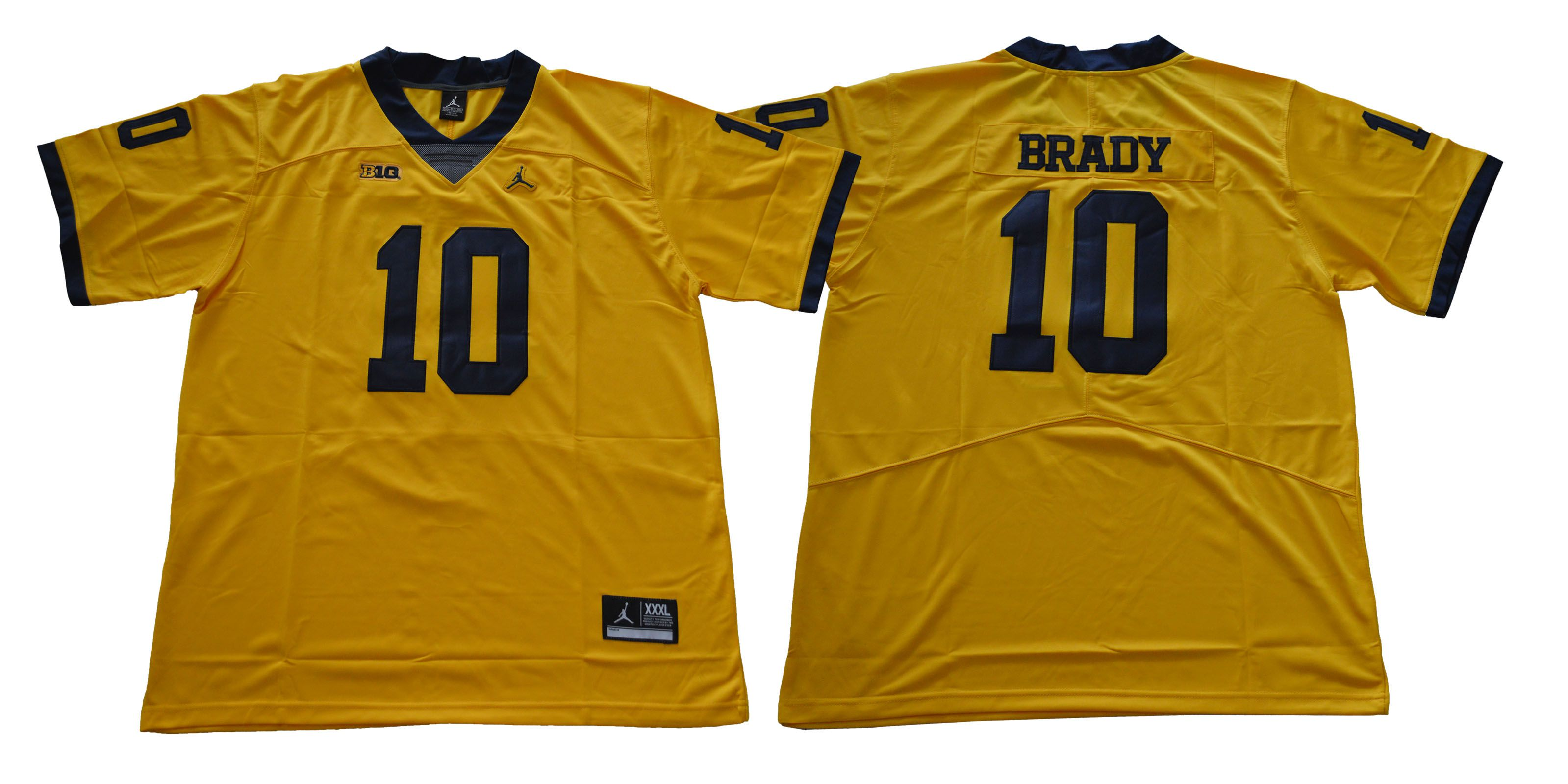 Men Michigan Wolverines 10 Brady Yellow NCAA Jerseys