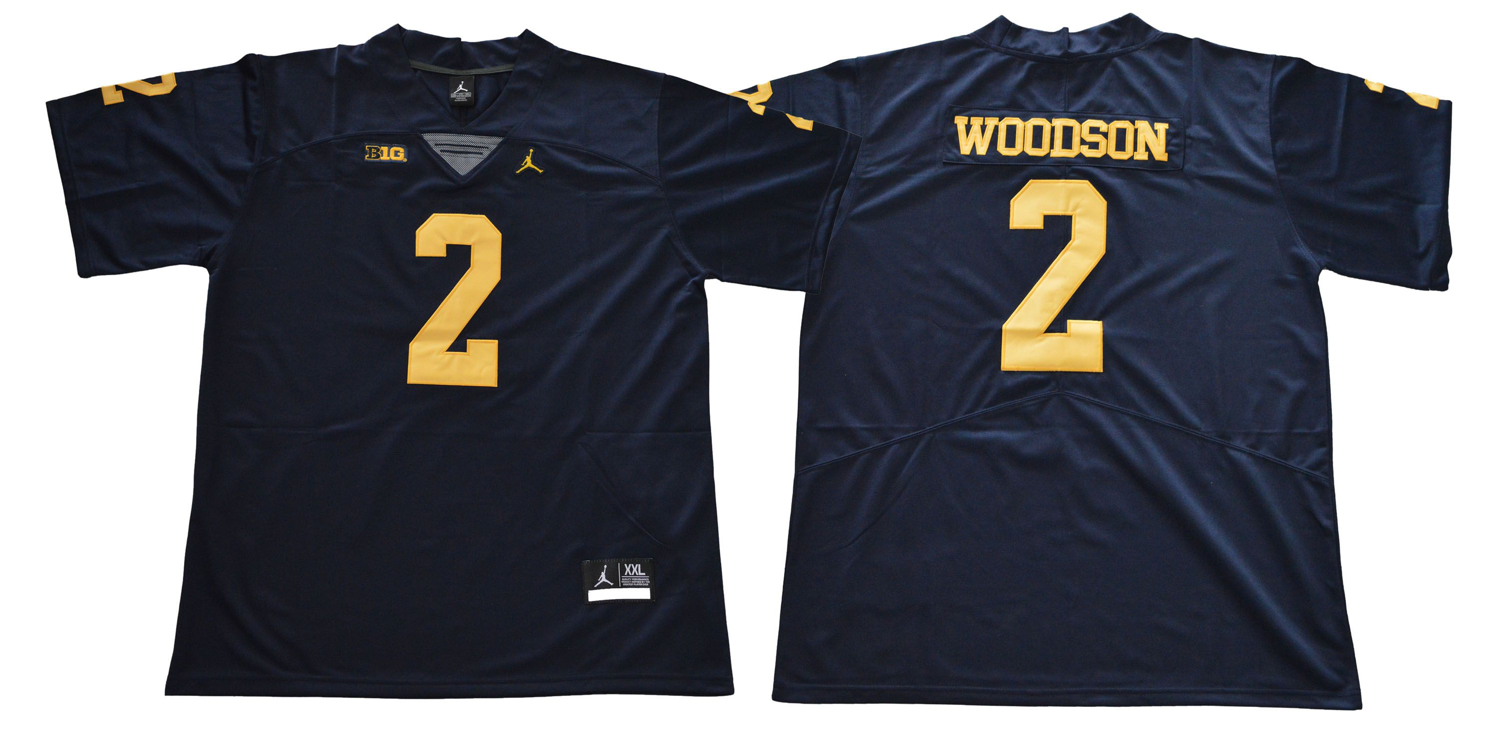 Men Michigan Wolverines 2 Woodson Blue NCAA Jerseys
