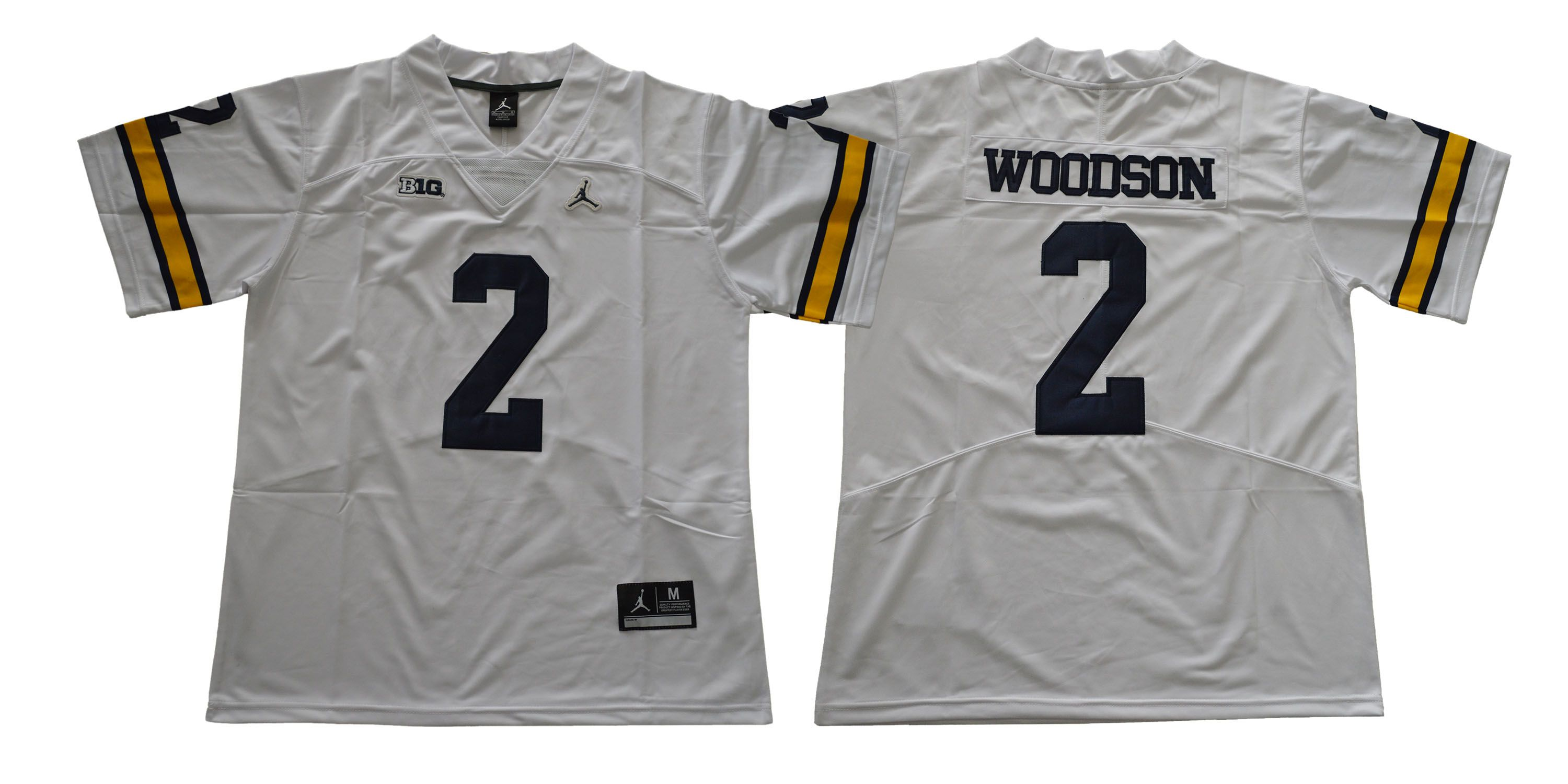 Men Michigan Wolverines 2 Woodson White NCAA Jerseys